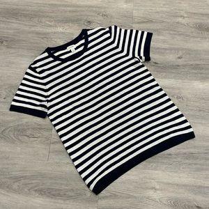 J. Crew Factory Navy Blue & White Striped T-Shirt